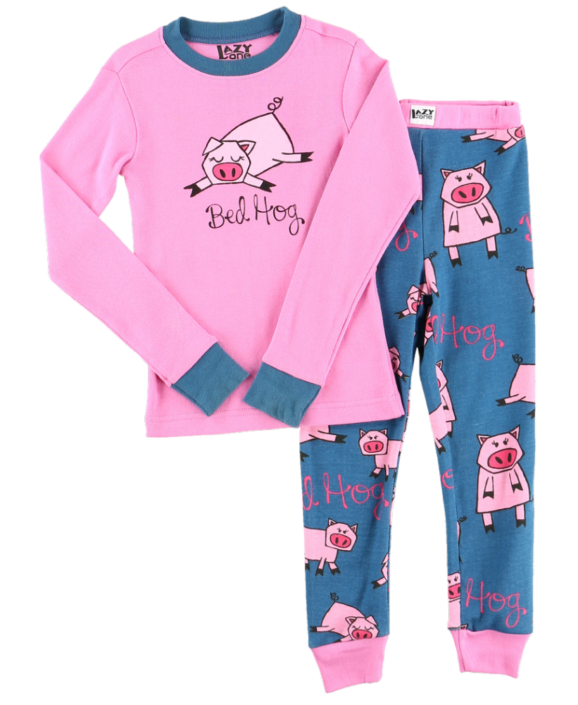 Bed Hog - Kids Long Sleeve PJ Set - Lazy One® | Girls Pyjamas